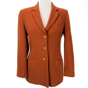Harve Benard Sz 4 Women Peacoat Orange Wool Cashme